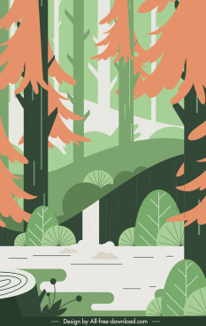 forest landscape painting colorful flat classic design