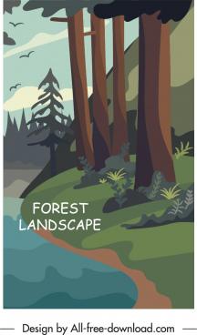forest landscape painting colorful retro decor