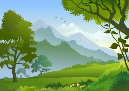 forest landscape trees illustration vector