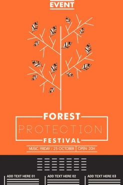 forest protection poster orange design trees icon decoration