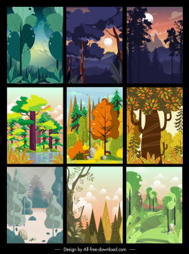 forest scenery paintings collection colorful classic design