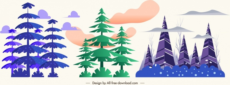 forest trees icons violet green design