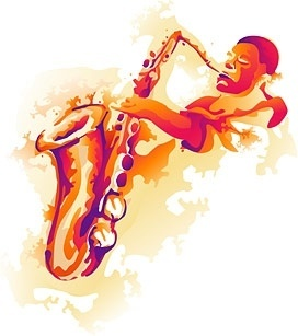 saxophone player icon design grungy classical style