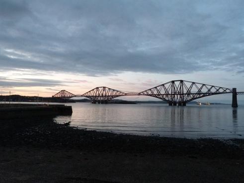 forth road railway bridge scotland dusk
