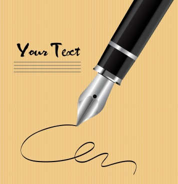 fountain pen advertising shiny 3d design text decor
