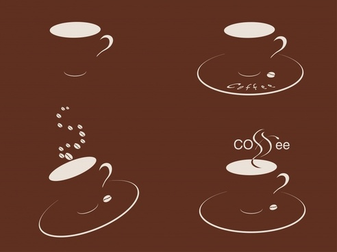 coffee cup icons dark 3d sketch