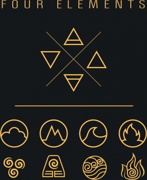 four elements icons flat geometric shapes sketch
