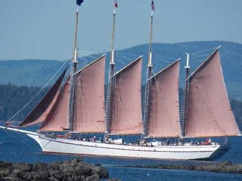 four mast schooner under sail
