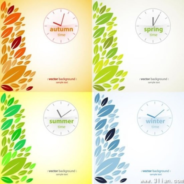 season background templates clock leaves decor flat design