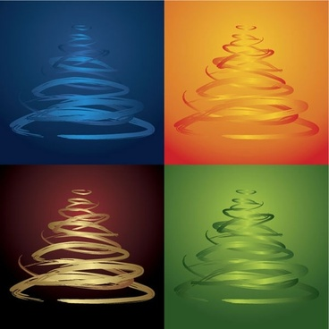 fourcolor christmas tree vector