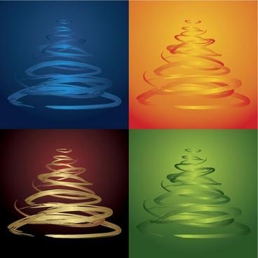 fourcolor christmas tree vector