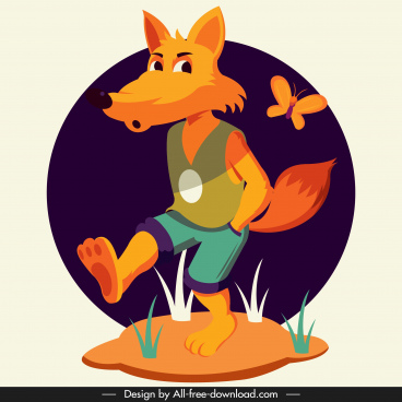 fox animal icon funny stylized cartoon character