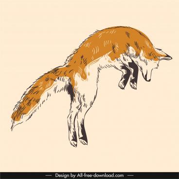 fox animal icon hunting sketch handdrawn retro
