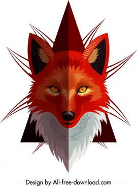 fox animal icon symmetric red head design