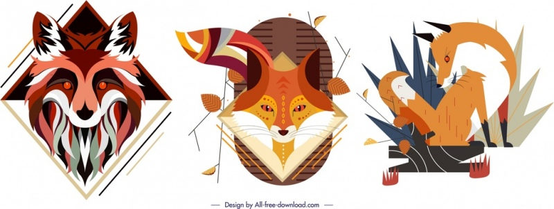 fox animal icons sets colorful classical design