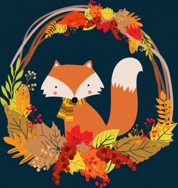 fox background colorful leaves decorated basket design