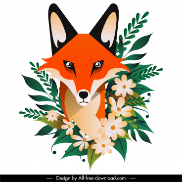 fox flower painting colorful classical flat sketch