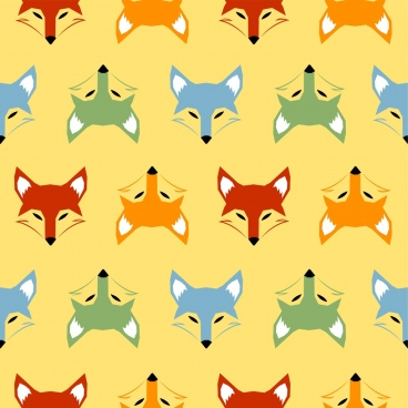 fox heads background colorful repeating symmetry design
