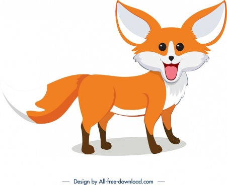 fox icon colored cute cartoon character sketch