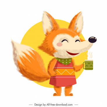 fox icon cute stylized cartoon character colorful classic