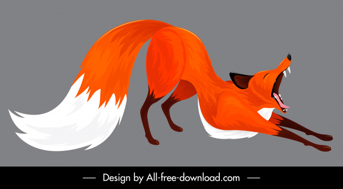 fox icon yawning gesture cartoon design colored classic