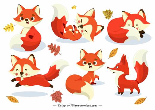 fox icons cute cartoon sketch dynamic gestures
