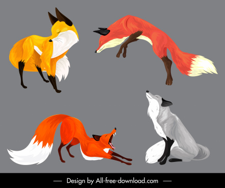 fox icons various gestures colorful sketch cartoon design