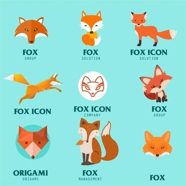 fox logo icons illustration in various styles