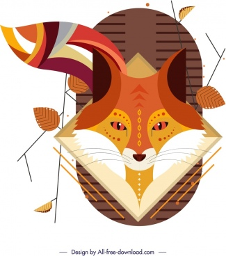 fox painting classical flat brown design leaves ornament