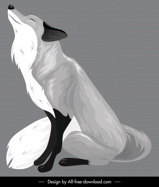 fox painting dark grey classical sketch