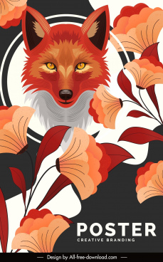 fox poster template orange color decor floral ornament