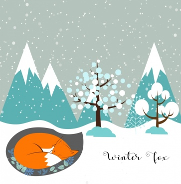 fox sheltering in winter background snowy decoration