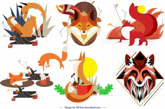 fox wild animal icons collection colorful classical design