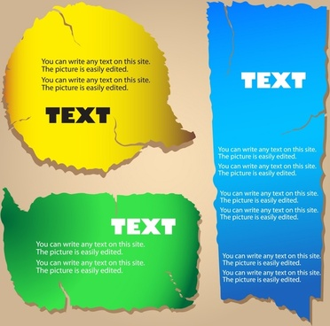 text box templates colored modern ragged decor