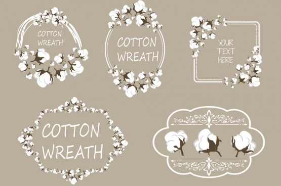 frame design elements cotton flowers decoration