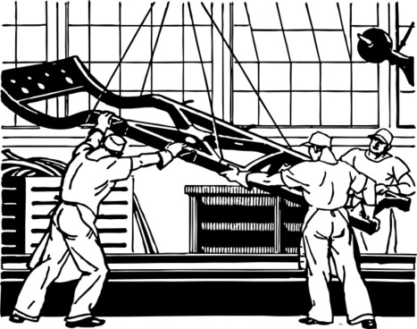 Frame Goes On The Assembly Line clip art