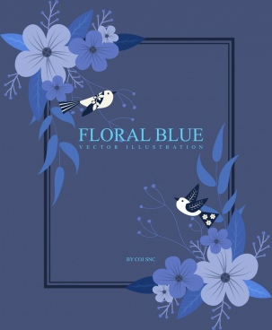 frame template blue flowers birds icons decor