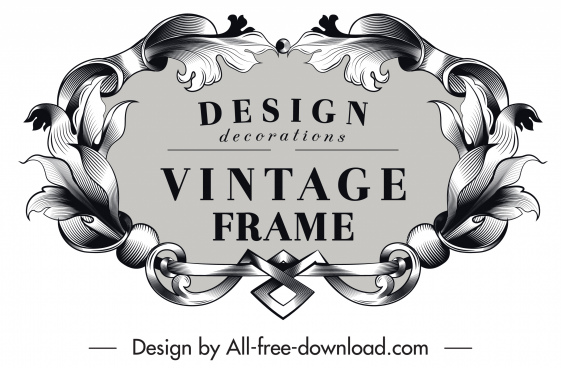 frame template vintage symmetrical design floral ornament
