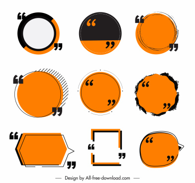 frame templates flat classical circles square speech bubbles