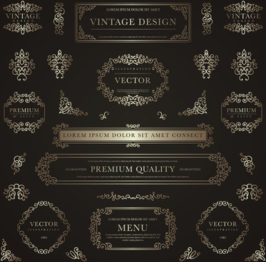 frame with golden decorative vector