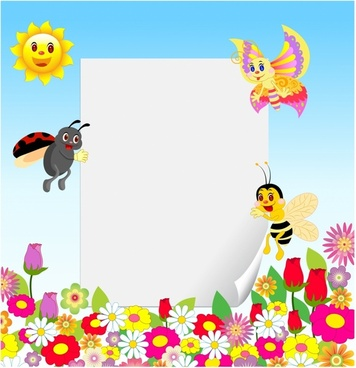 Frame with insect and flower