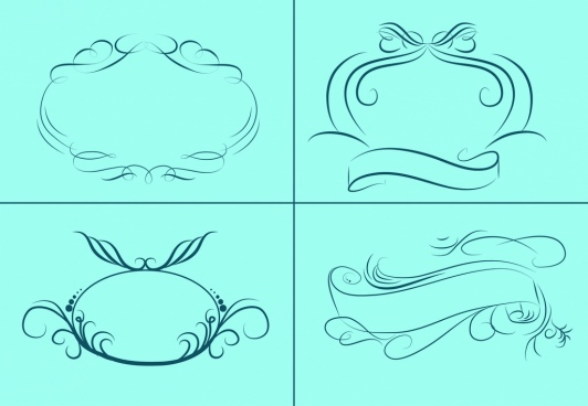 frames and ribbon sketch collection classical decorative curves
