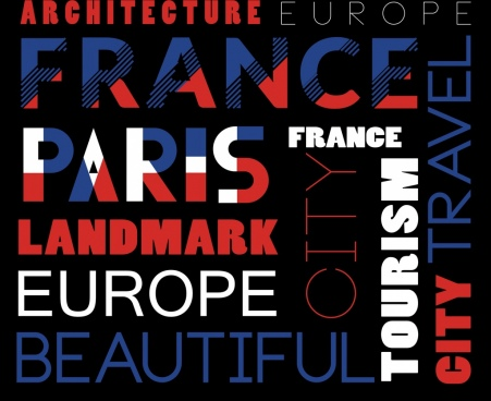 france advertising banner capital lettering decoration flat design