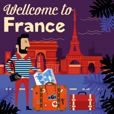 france advertising banner tourist luggage landmark icons