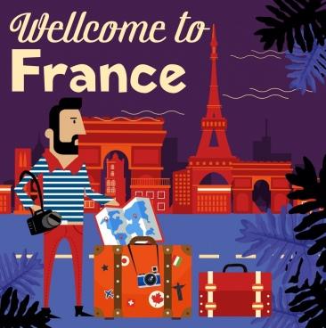 france advertising banner tourist luggage landmark icons