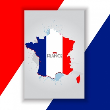 france background map flag icon decor grunge design