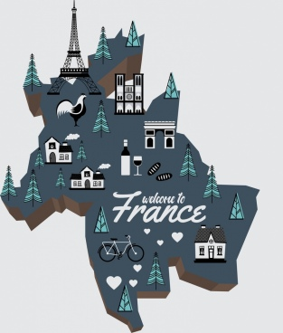 france background map specific symbols decoration