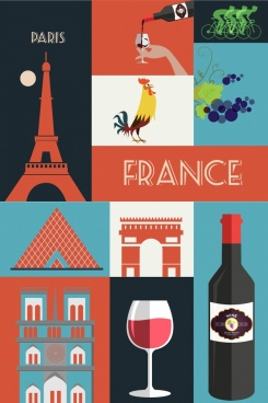 france design elements colored flat symbols