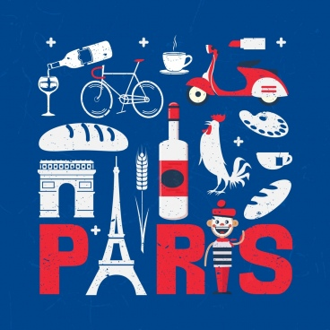 france design elements red blue white symbols decor