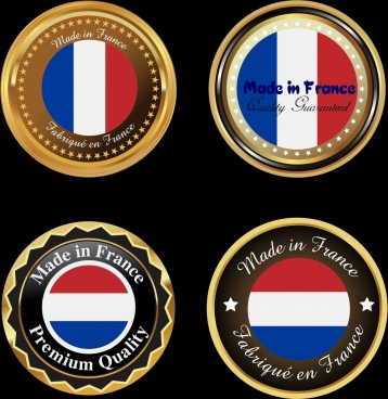 france medals collection flag design shiny golden circles